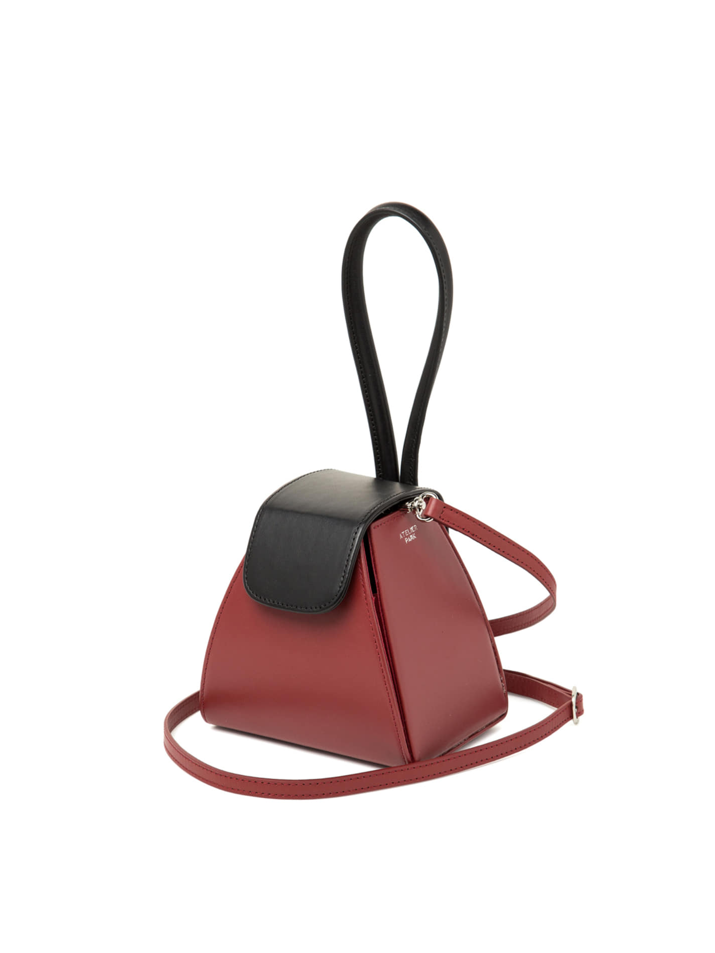 COLOR BLOCK HANDLE BAG -RED / BLACK (레더스트랩포함)