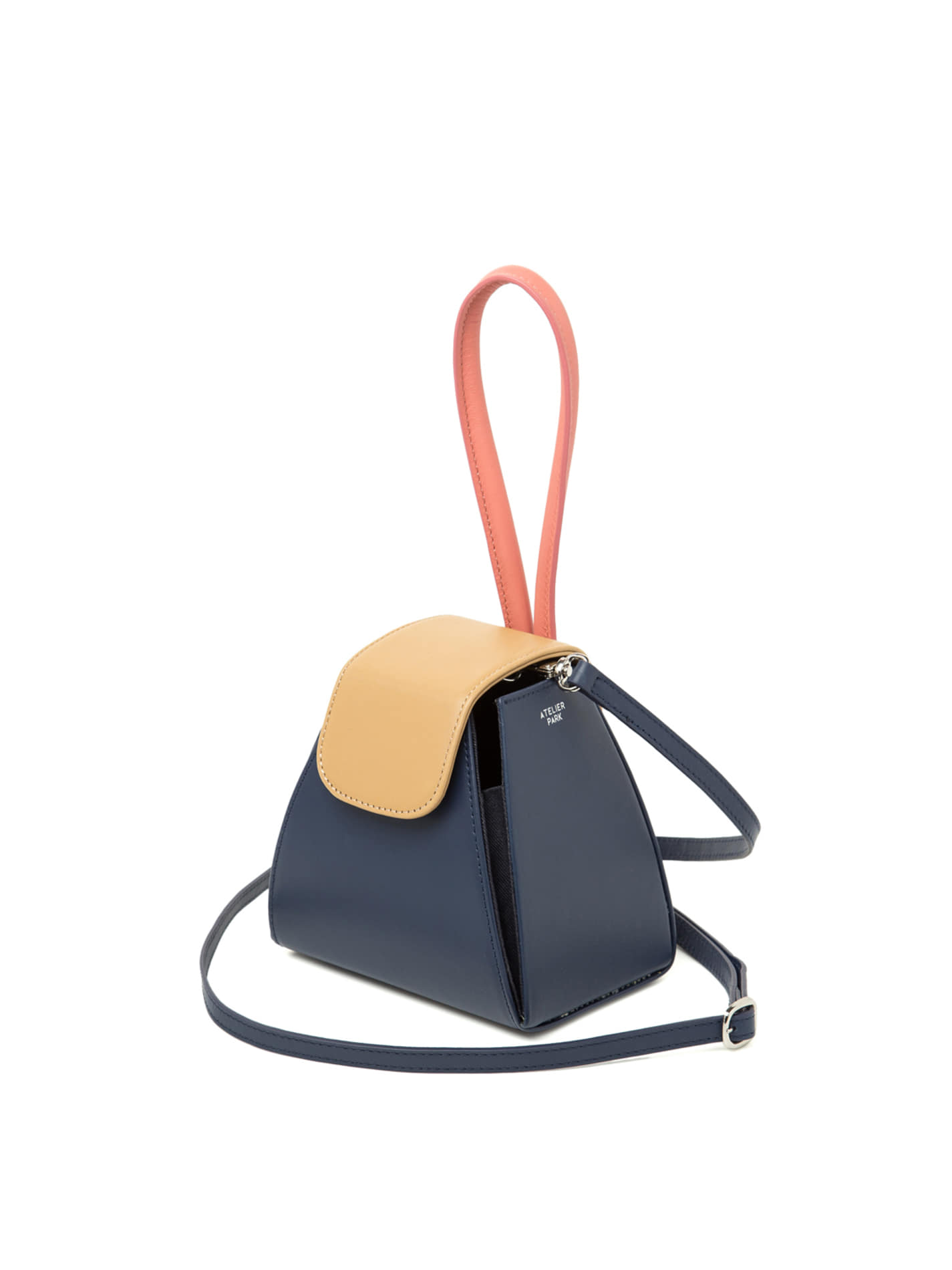 COLOR BLOCK HANDLE BAG -NAVY / BEIGE PINK (레더스트랩포함)