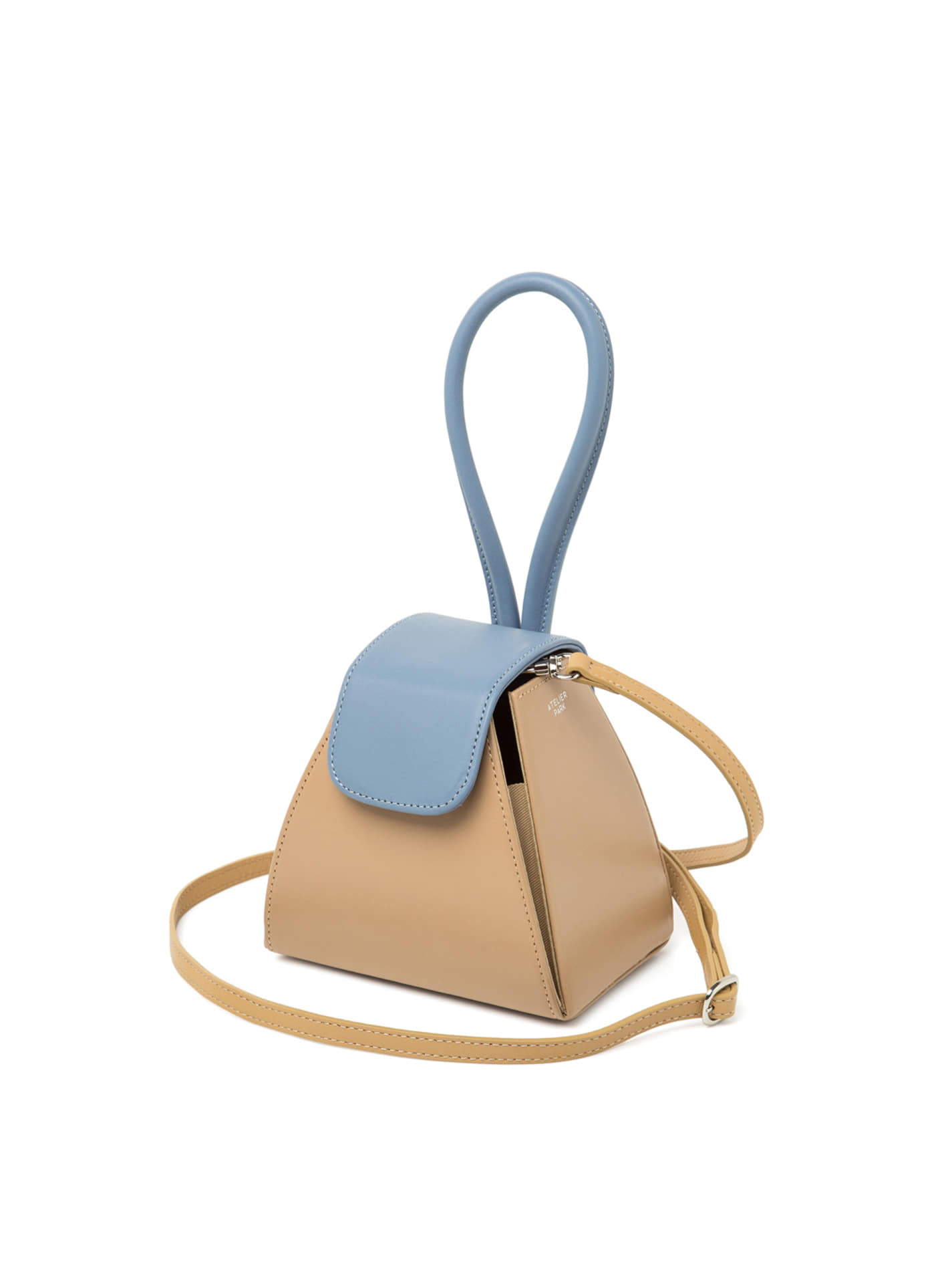 COLOR BLOCK HANDLE BAG -BEIGE / SKY BLUE ( 레더스트랩 포함 )
