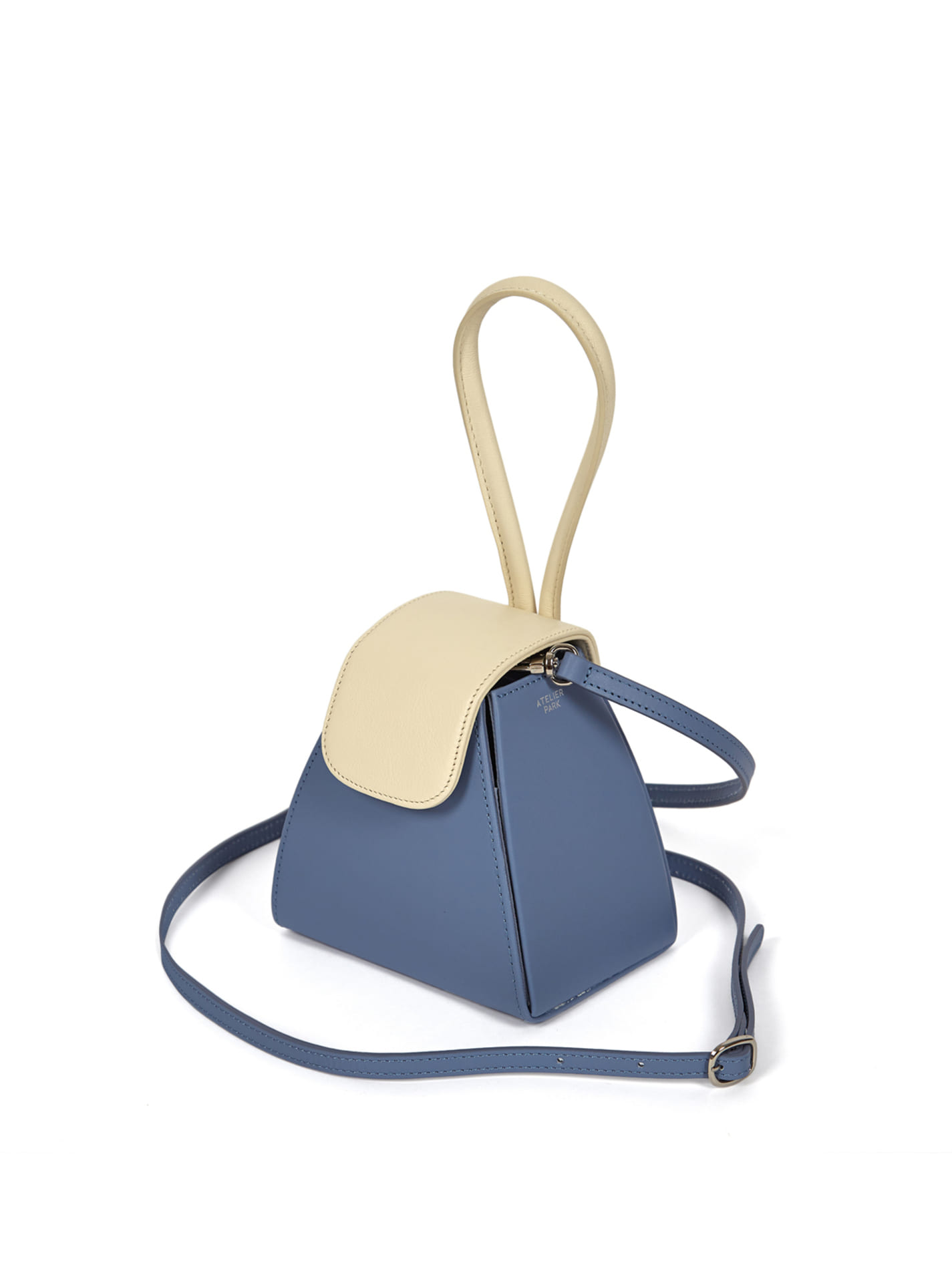 ATELIER PARK COLOR BLOCK HANDLE BAG -SKY BLUE / WHITE (레더스트랩포함)