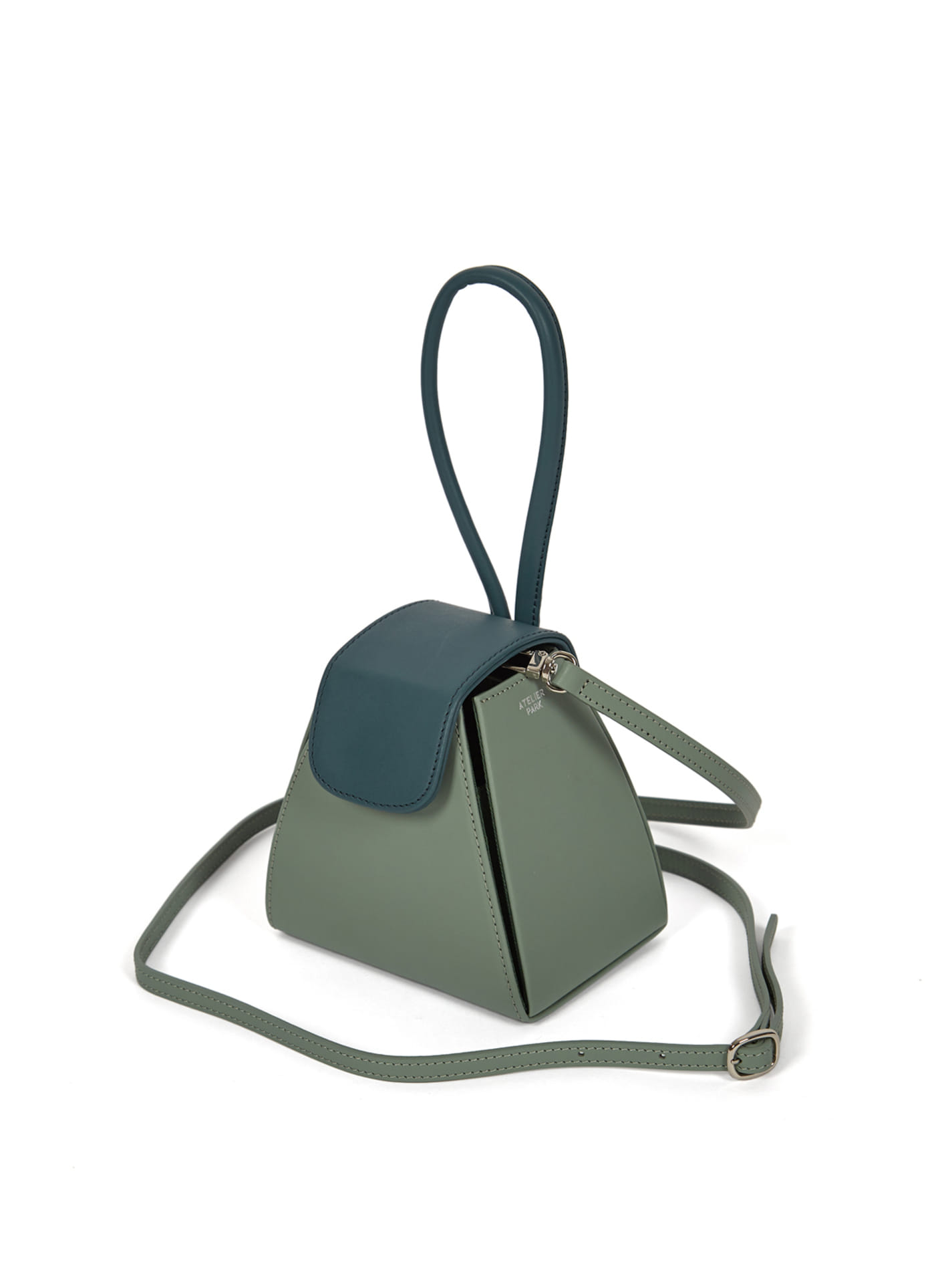 COLOR BLOCK HANDLE BAG -MINT / GREEN ( 레더스트랩 포함 )