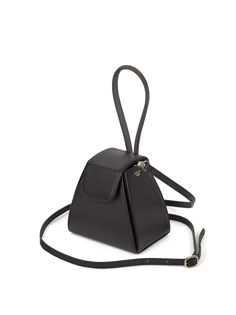 COLOR BLOCK HANDLE BAG - BLACK