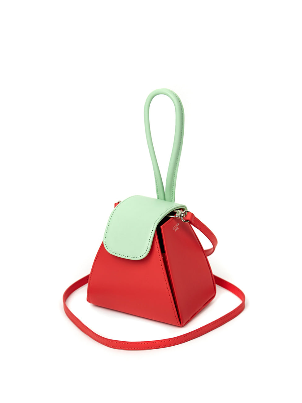 COLOR BLOCK HANDLE BAG -RED [레더스트랩포함]