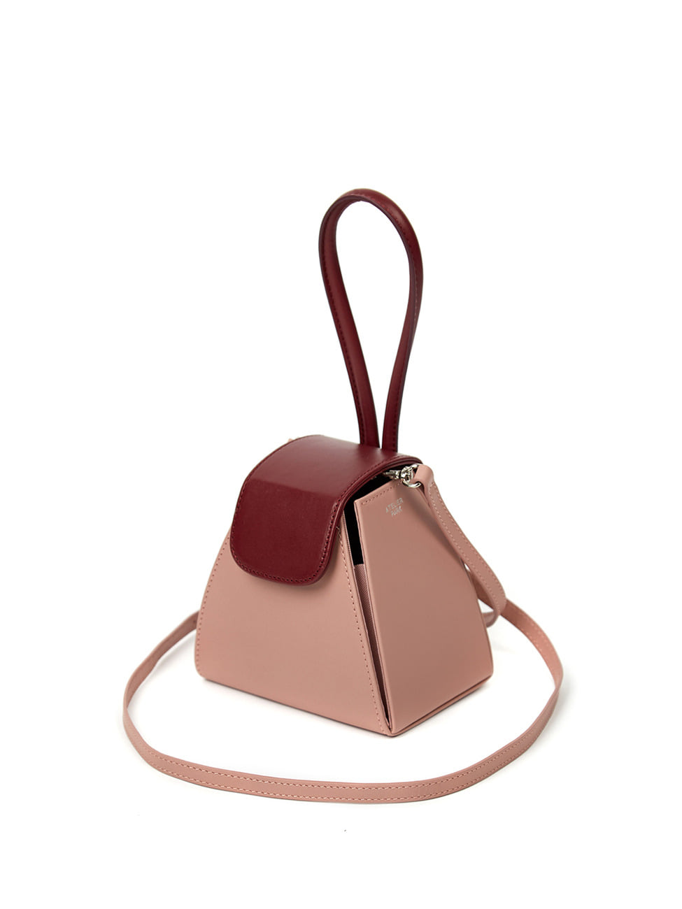 COLOR BLOCK HANDLE BAG -PINK/BURGUNDY(레더스트랩 포함)