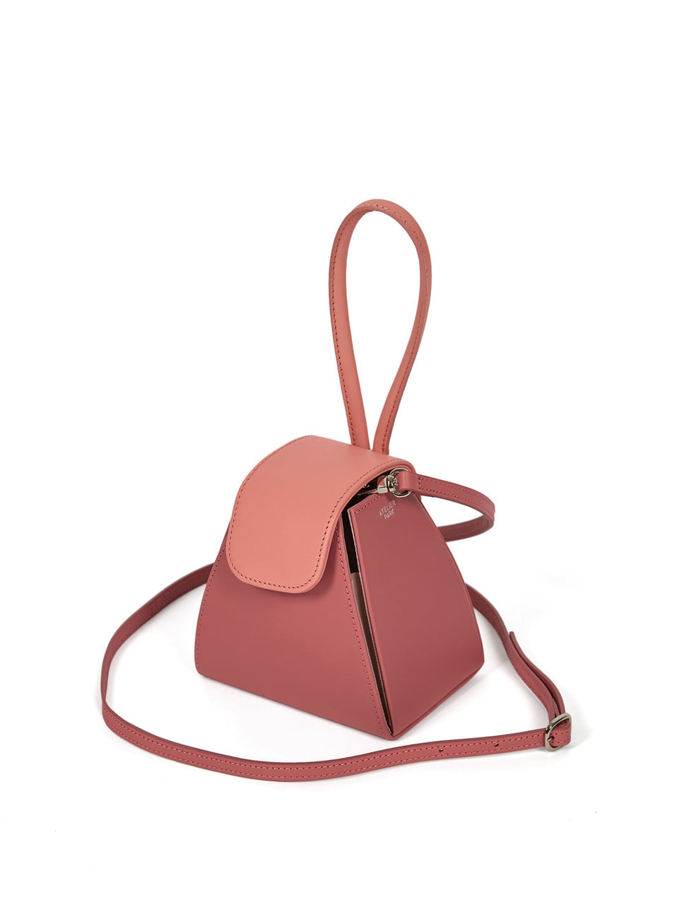 COLOR BLOCK HANDLE BAG -PINK/ BABY PINK ( 레더스트랩 포함 )