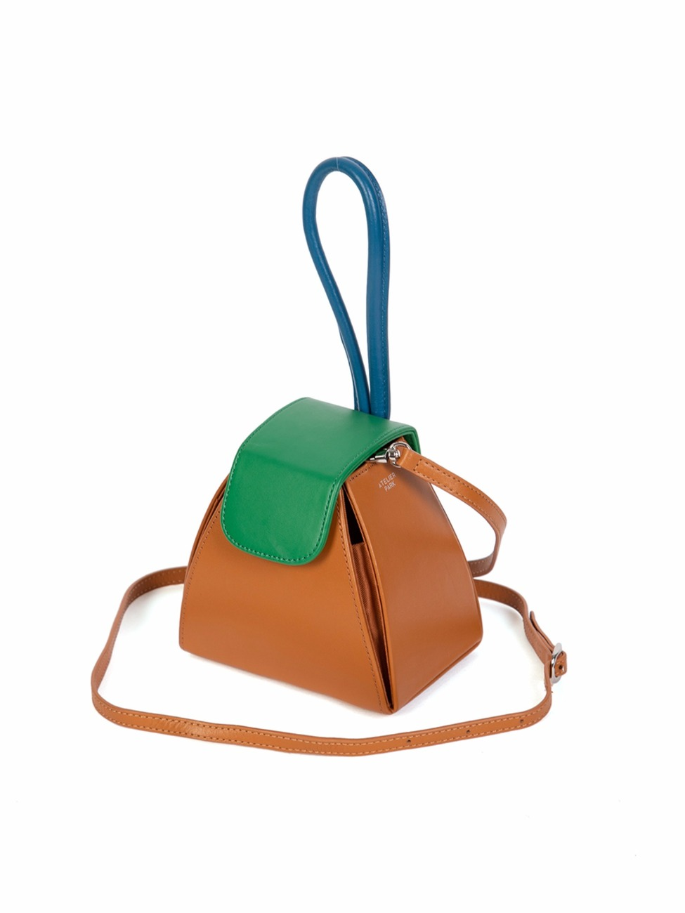 COLOR BLOCK HANDLE BAG - CAMEL (레더스트랩 포함)